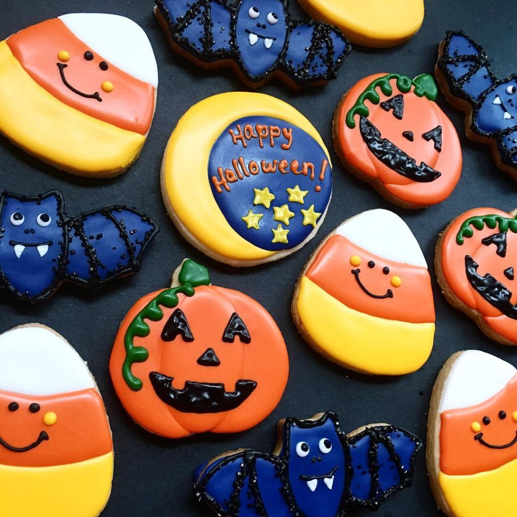 halloween birthday party sugar cookies by little rose cookie