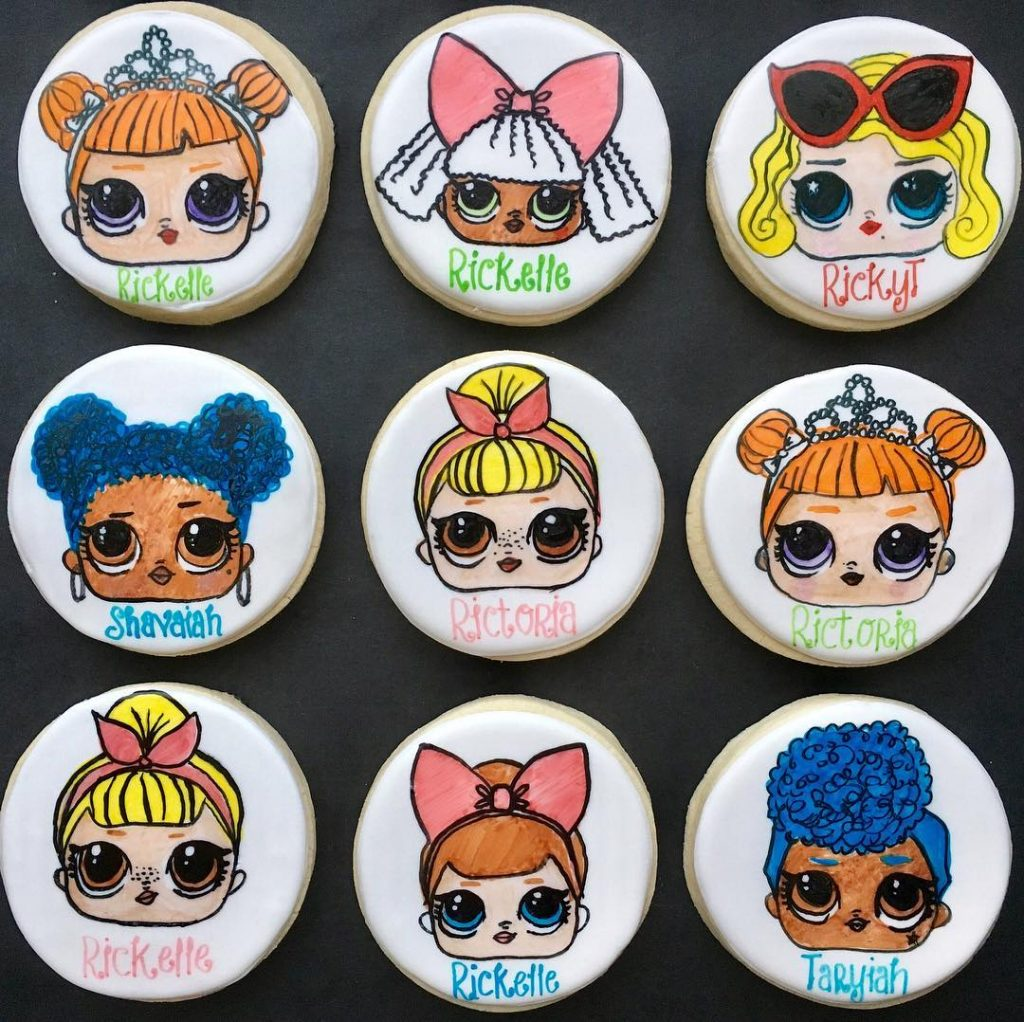 lol dolls birthday party sugar cookies by little rose cookie