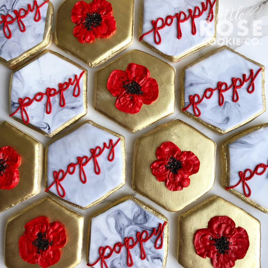 remembrance day poppy sugar cookies by little rose cookie