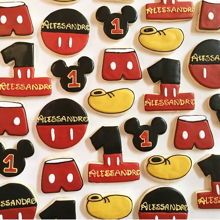 mickey mouse birthday party sugar cookies by little rose cookie
