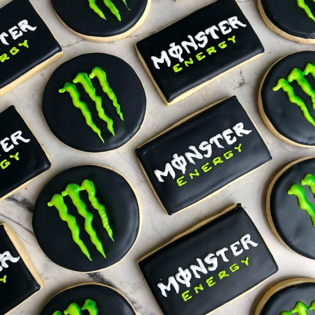 monster energy corporate event sugar cookies by little rose cookie