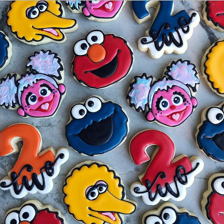 sesame street birthday party sugar cookies by little rose cookie