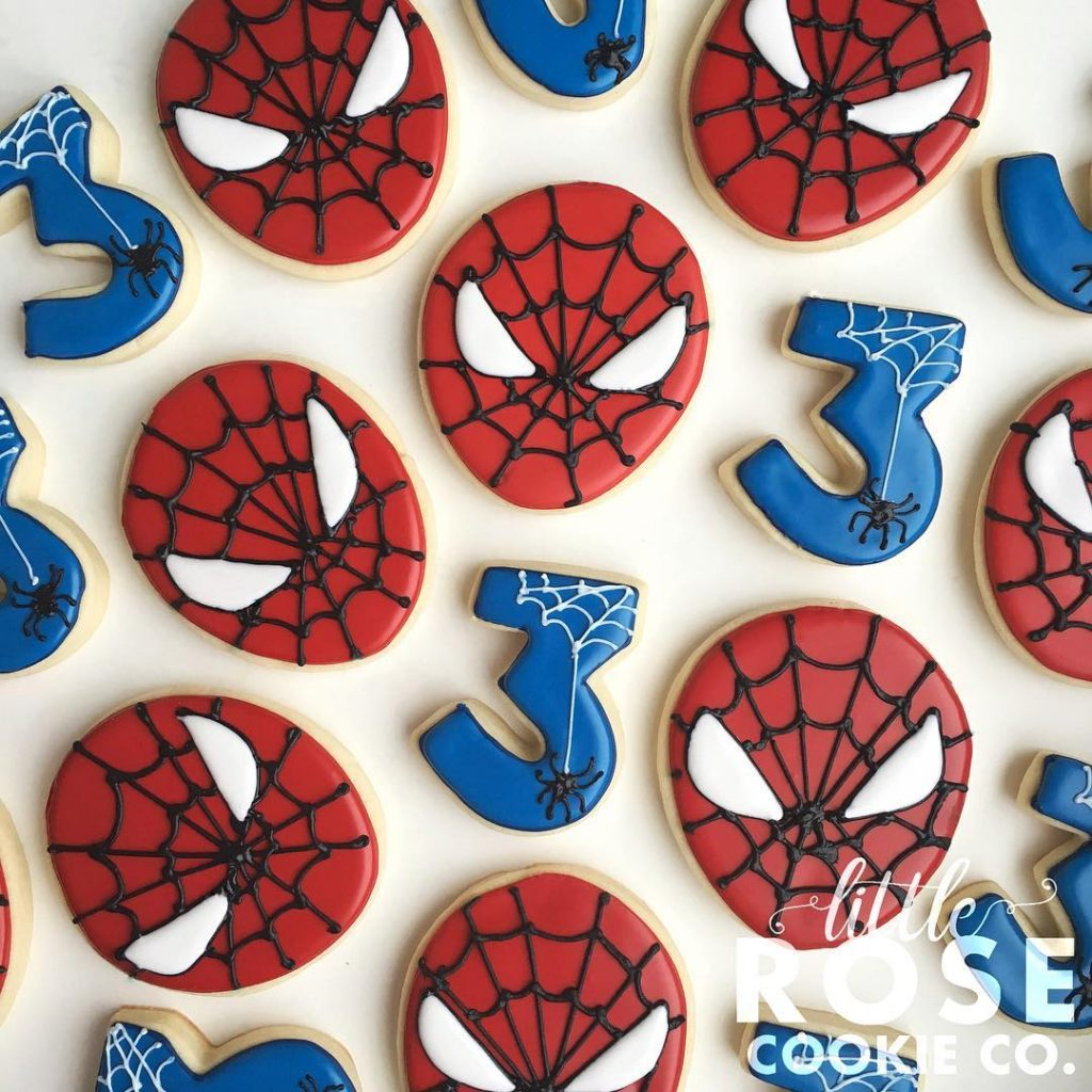 spider man birthday party sugar cookies by little rose cookie