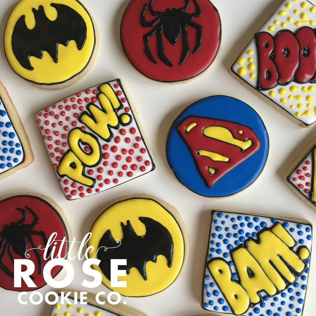 superhero birthday party sugar cookies by little rose cookie