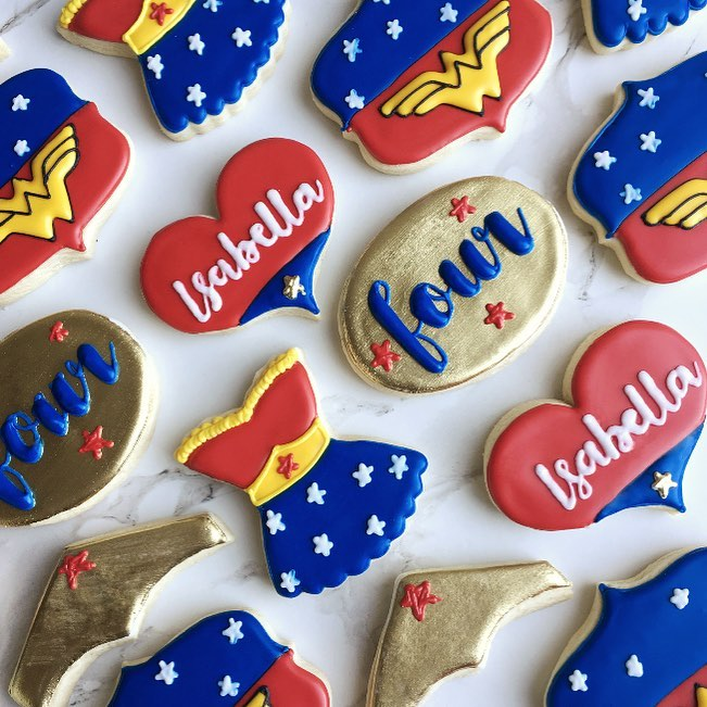 wonder woman birthday party sugar cookies by little rose cookie