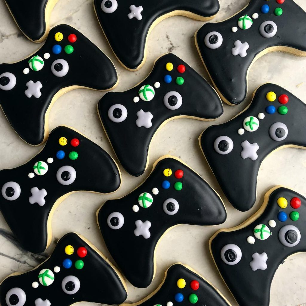xbox video game birthday party sugar cookies by little rose cookie